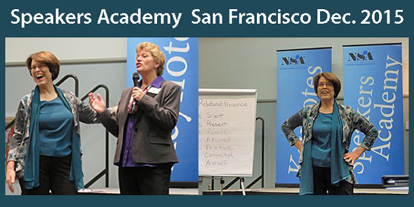 Doreen Hamilton, Ph.D. sharing her tips for being an authentic speaker at NSA's Speakers Academy in San Francisco