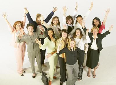 women leaders raising their hands embracing their power
